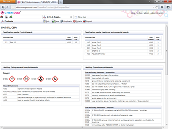 Screenshot: CHEMDOX - Display of a GHS classification